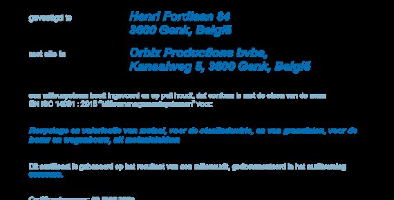 Orbix hernieuwt ISO 14001 milieubeheersysteem certificaat